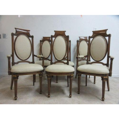 1980s Vintage Mastercraft French Regency Walnut Dining Room Side Arm Chairs - Set of 6 For Sale - Image 5 of 5
