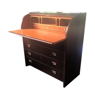 1960s Swedish Rosewood Roll Top Secretaire For Sale