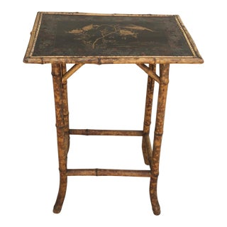 Mid 20th century Chinioserie Bamboo Accent Table For Sale