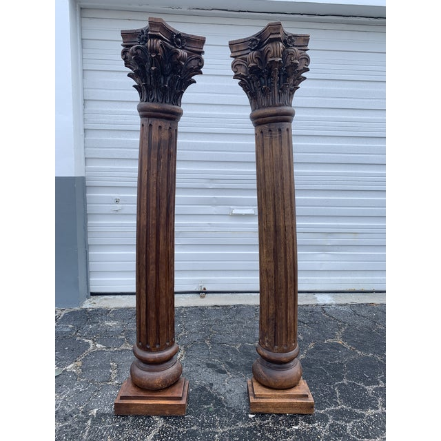 Antique Corinthian Style Carved Mahogany Columns - a Pair For Sale - Image 13 of 13
