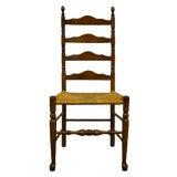 Image of Ethan Allen Antiqued Pine Old Tavern Ladder Back Dining Side Chair For Sale