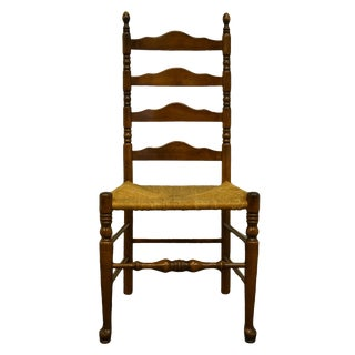 Ethan Allen Antiqued Pine Old Tavern Ladder Back Dining Side Chair For Sale