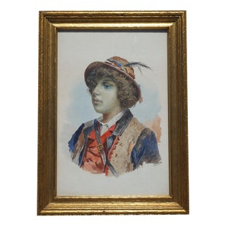 Original Watercolor of Italian Shepherd Boy by G. Conti