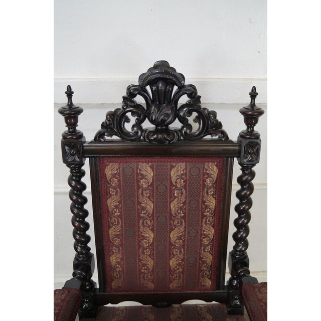 19th Century Antique Gothic Rosewood Barley Twist Throne Chair - Image 8 of 9
