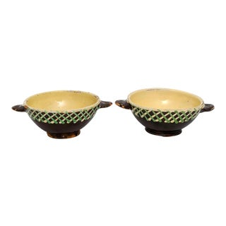 Antique French Rustic Pottery Bowls - a Pair For Sale
