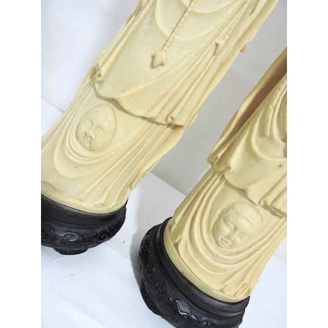 Mid 20th. Century Italian / Chinese 'Ivory' (Resin) Nobles Statues or Figures - a Pair For Sale - Image 9 of 11