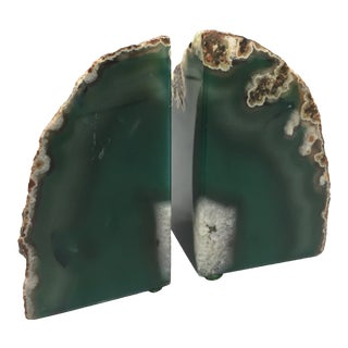Emerald Green Agate Geode Bookends - A Pair For Sale