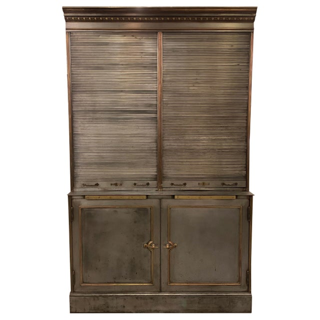 Antique Steel and Brass Roll Top Valuables Safe Display Cabinet For Sale - Image 13 of 13
