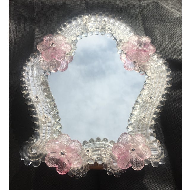 Italian Venetian Murano Glass Wall Mirror With Pink Rosettes, 1950s For Sale - Image 11 of 11