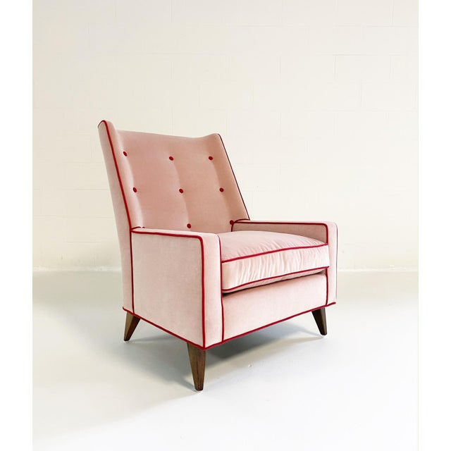 Modern Paul McCobb Style Lounge Chair in Schumacher Velvet and Loro Piana Cashmere For Sale - Image 3 of 8