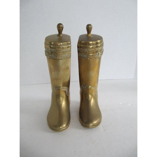 Vintage Brass Equestrian Boot Bookends - A Pair - Image 8 of 9