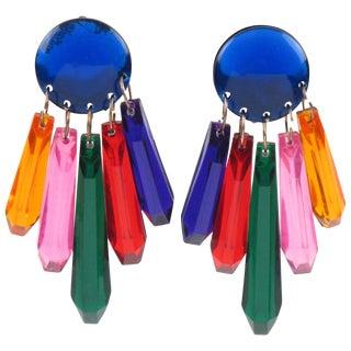 Oversized Dangling Chandelier Multicolor Drop Lucite Clip on Earrings For Sale
