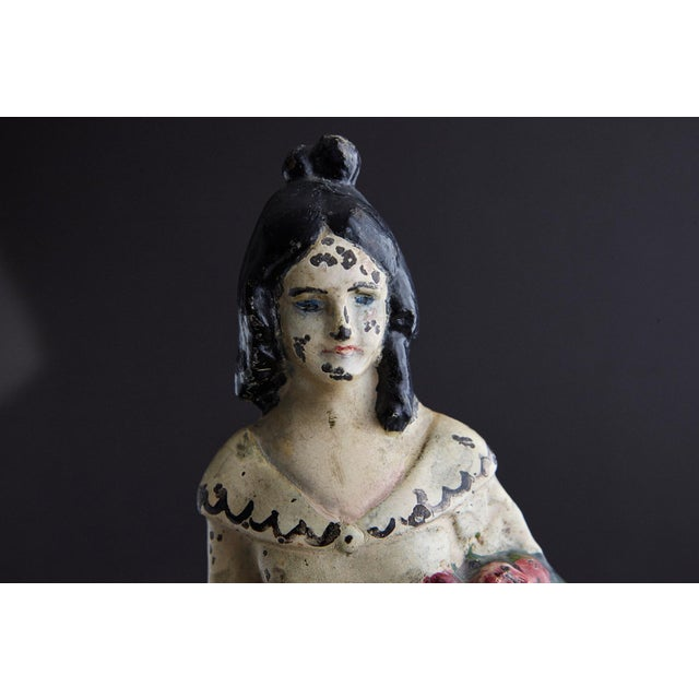 Metal 19th Century Cast Iron Hand Painted Polychrome Woman With Straw Hat Doorstop For Sale - Image 7 of 9