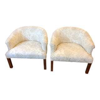 Chic Tub Shaped Compact Pair of Upholstered Club Chairs- A Pair For Sale
