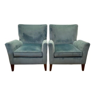 Mitchell Gold + Bob Williams Emmet Chairs in Pippin Teal Fabric - a Pair For Sale