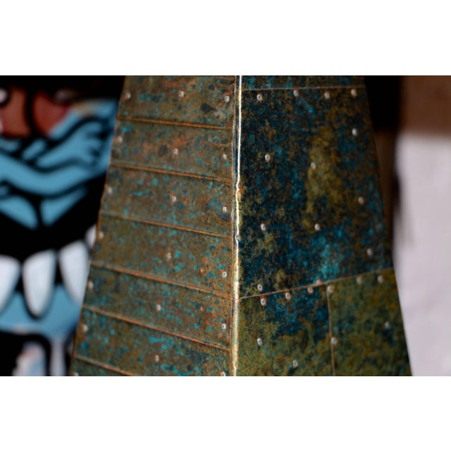 Mid 20th Century Hand-Hammered Patchwork Copper Lamp and Shade For Sale - Image 5 of 10