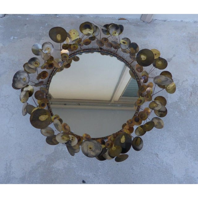 Glass 1960's Vintage Curtis Jere Raindrops Circular Mirror For Sale - Image 7 of 7