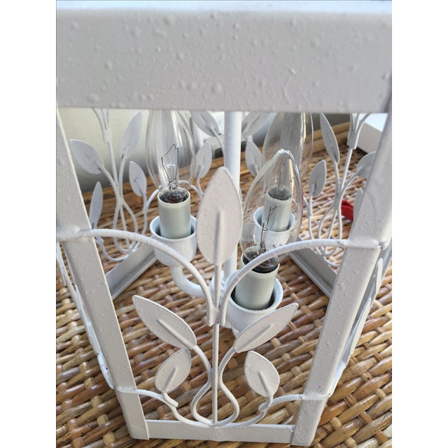 Vintage White Hexagon Light Fixture - Image 7 of 11