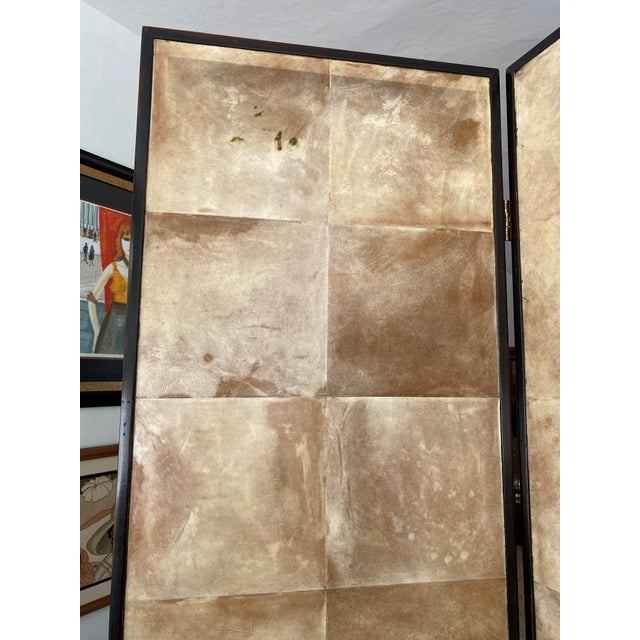 Modern Vintage Jean Michel Frank Style Parchment Room Divider Screen For Sale - Image 3 of 11