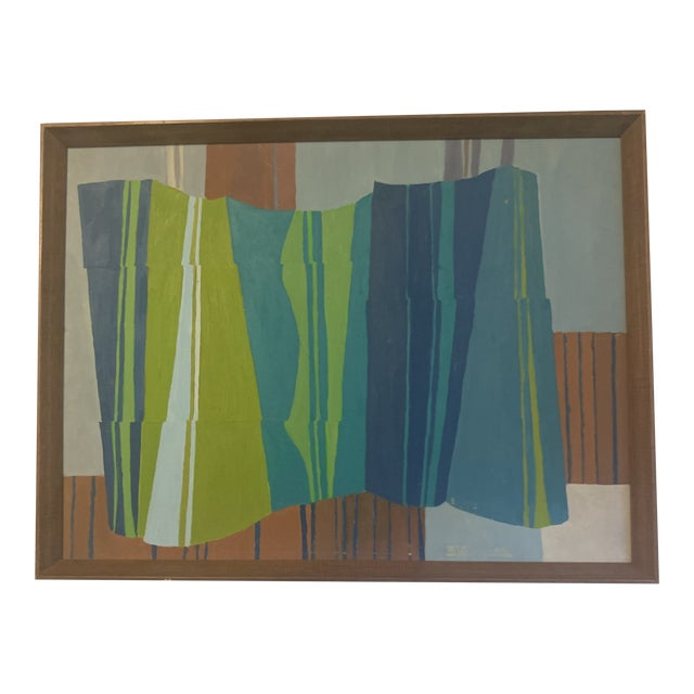 Mid-Century Modern Abstract Line Acrylic Painting, Framed For Sale