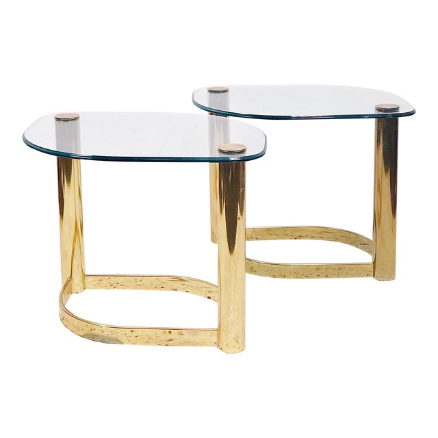 Pace Collection Brass & Glass Side Tables - a Pair For Sale