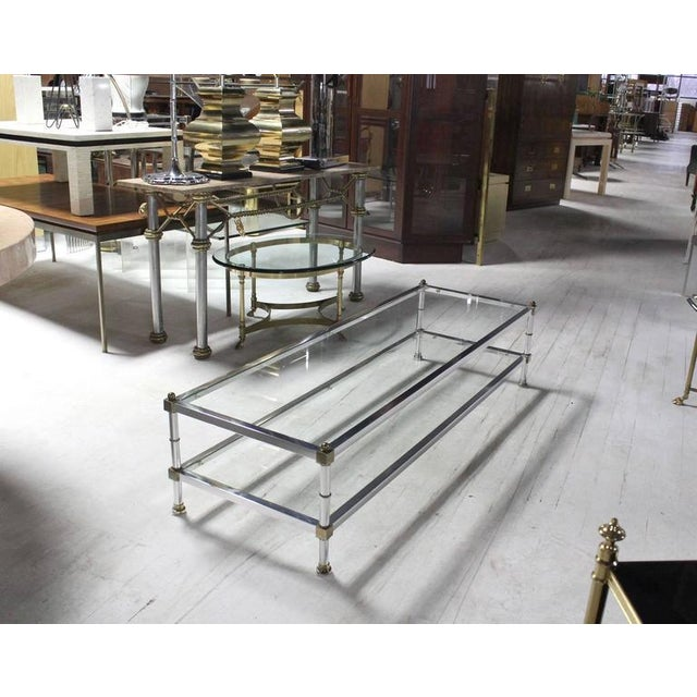 Mid-Century Modern Chrome Brass Glass Top Large Rectangular Coffee Table For Sale - Image 6 of 7