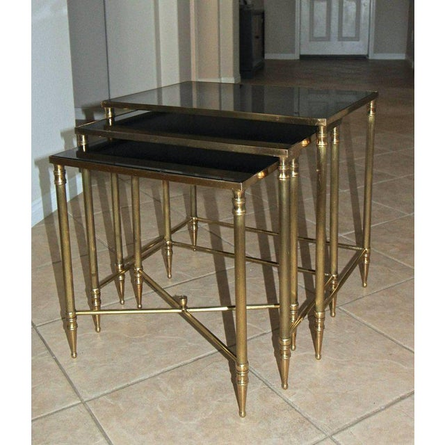 French Bagues Style Brass Nesting Tables - Set of 3 For Sale - Image 4 of 13