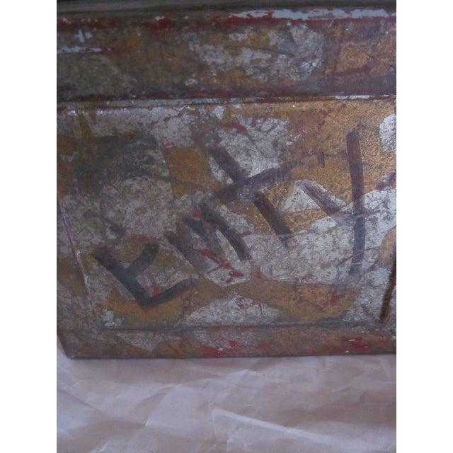 Brown Vintage Rustic Metal Industrial Storage Tool Box For Sale - Image 8 of 8
