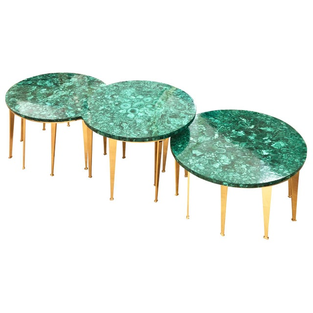 Gaspare Asaro Malachite Coffee Table or Side Tables by formA for Gaspare Asaro For Sale - Image 4 of 7