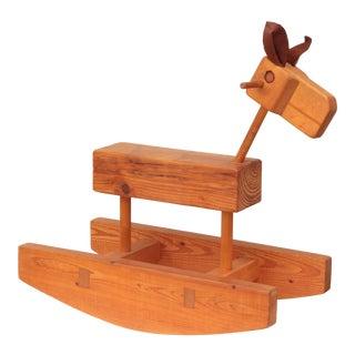 Modernist Wood Rocking Horse For Sale