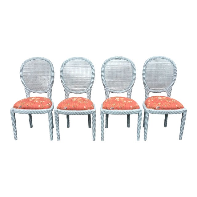 1970s Vintage Hollywood Regency Carved Rope Chairs - Set of 4 For Sale