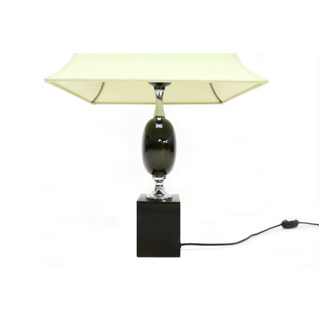 Pair of Philippe Barbier Green Table Lamps For Sale - Image 4 of 6