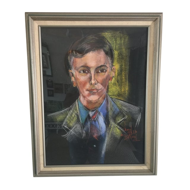 Mid-Century Portrait of a Man Signed For Sale