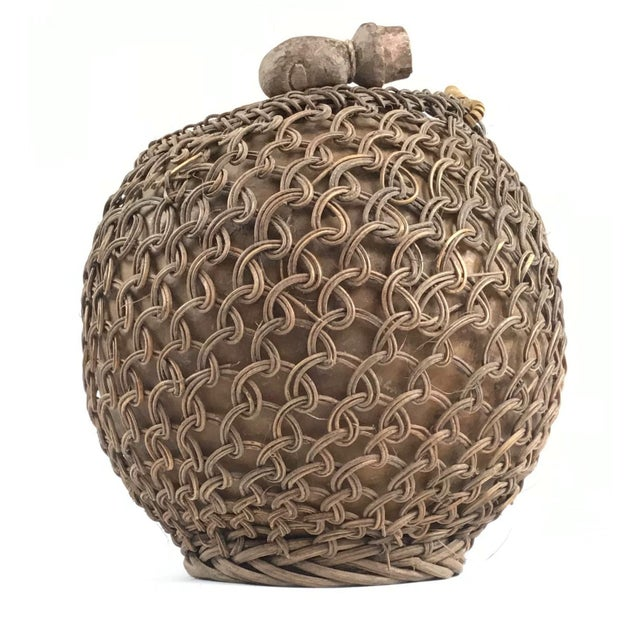 Mid 18th Century Primitive Javanese Hand Woven Covered Gourd Container For Sale - Image 5 of 11