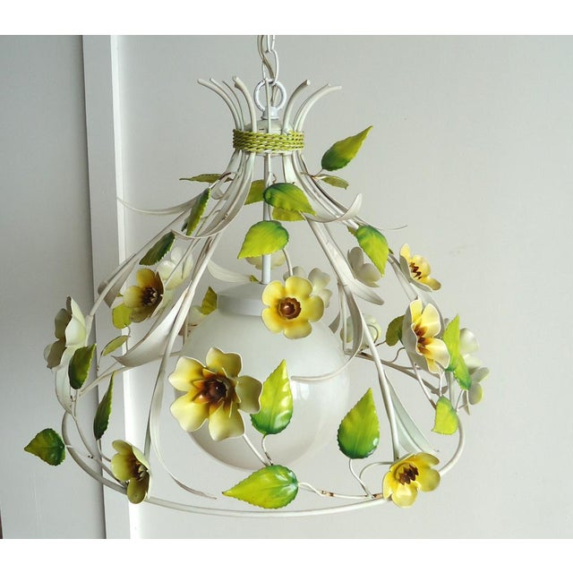 Mid-Century Italian Tole Light Fixture with Yellow Flowers - Image 2 of 6