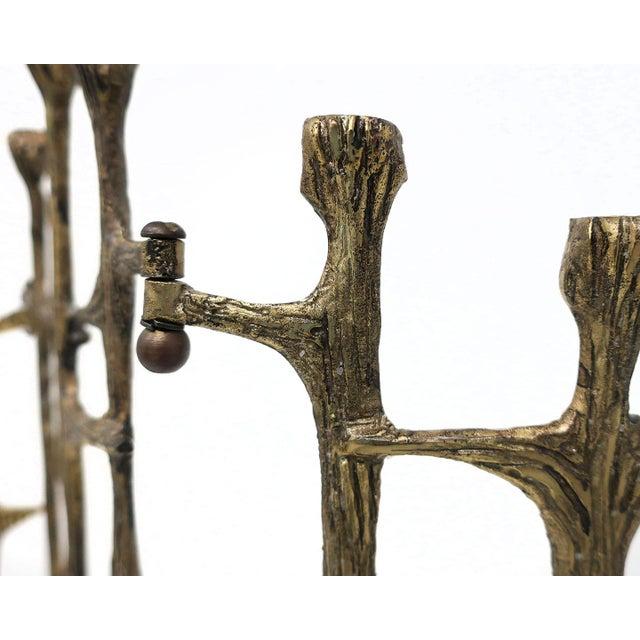 Gold Brutalist Brass Candleholder For Sale - Image 8 of 9