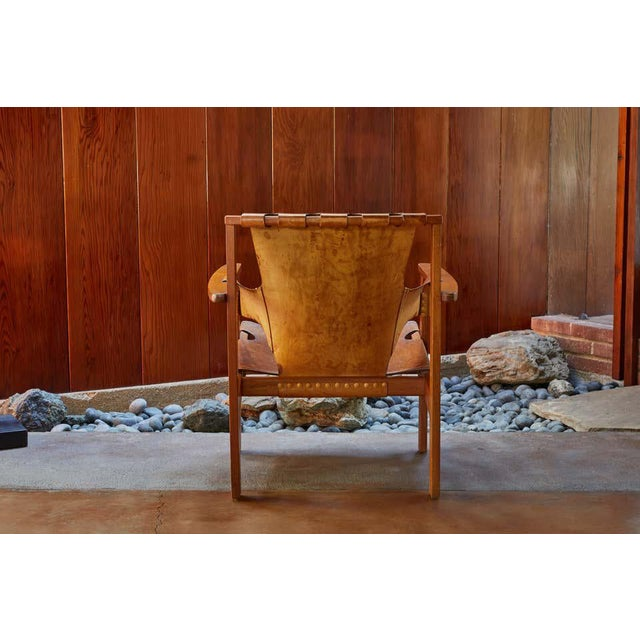 "1950s Carl Axel Acking ""Trienna"" Chair in Patinated Brown Leather For Sale - Image 10 of 13"