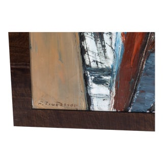Mid-Century Abstract Painting Signed For Sale