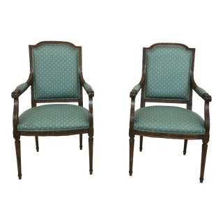 Pair French Louis XVI Green Upholstered Open Armchairs For Sale