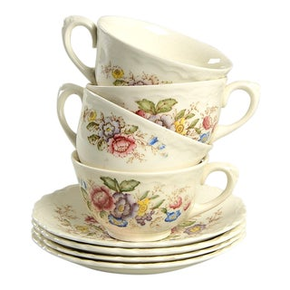 Crown Ducal Wilmslow Brown Multicolor Flat Cup & Saucer Set - Set of 4 For Sale