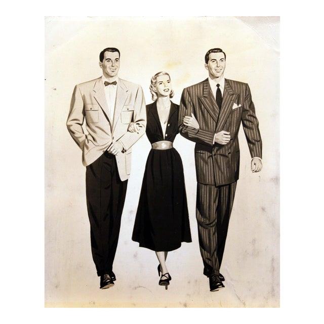 1950's Men & Woman Illustration Glicee Print For Sale
