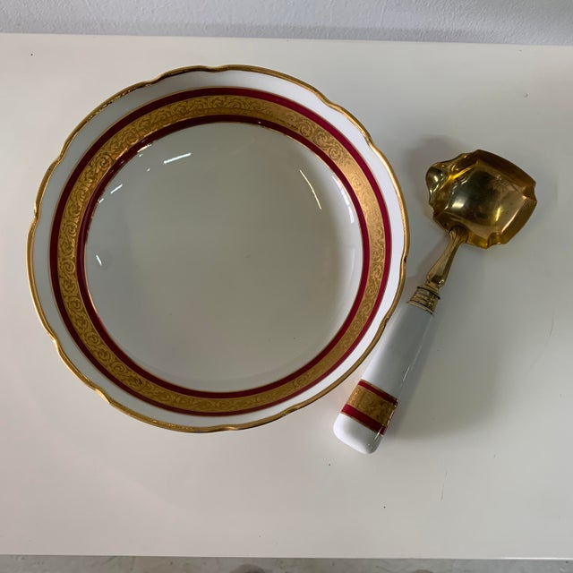 Vintage Limoges France Footed Bowl and Ladle For Sale - Image 11 of 13