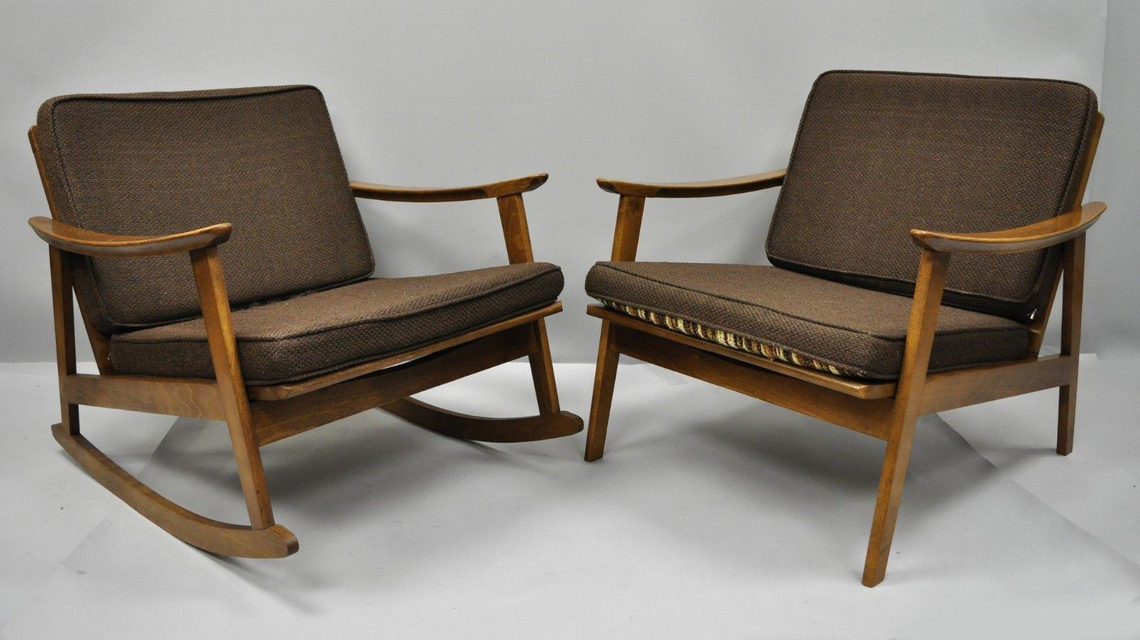 Danish Modern Vintage Mid Century Modern Danish Style Lounge / Rocking  Chairs   A Pair