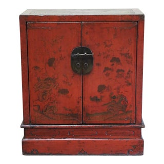 Late 19th Century Chinese Red Storage Cabinet For Sale