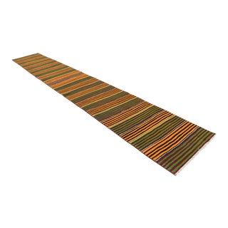 Turkish Handmade Kilim Runner Rug Extra Long Hallway Rug Stair Tread - 2′10″ × 19′4″ For Sale