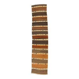 Vintage Striped Turkish Kilim Runner - 2′7″ × 11′4″ For Sale