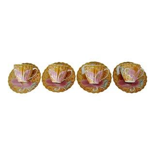 Porcelain Demitasses & Saucers - 8 Pieces For Sale