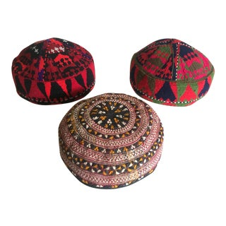 Vintage Uzbek Afghani Turkmen Hand Embroidered Tribal Hats - Set of 3 For Sale