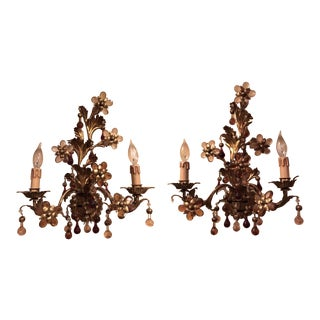 Maison Bagues Style Gilded Iron and Crystal 2 Light Wall Sconces - a Pair For Sale