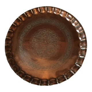 19th Century Syrian Copper Tray For Sale